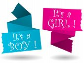 stock photo of boy girl shadow  - Origami banner with drop shadow in pink and blue with baby boy or girl annoucement - JPG