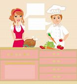 Pair Of Chefs Prepares Delicious Dishes