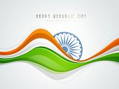 stock photo of ashoka  - Stylish Indian Republic Day concept with ashoka wheel in national tricolours wave on grey  background - JPG