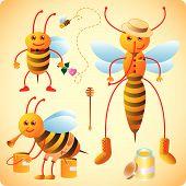 Three happy bees