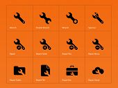 Repair Wrench icons on orange background.