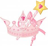 Beautiful crown and  magic wand  for true princess. Raster version.  (vector file available in my portfolio)