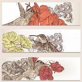 Floral Business Cards Set With Birds For Design