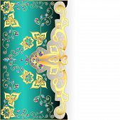Salad Background With Gold Ornament And Precious Stones