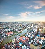 Panoramic view of Ho Chi Minh city or Saigon in sunset, Vietnam.