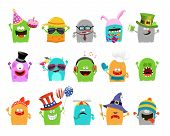 stock photo of sleepy  - Collection of cute little monster characters for your designs - JPG