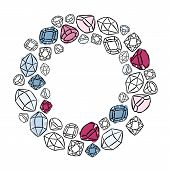 wreath shaped colorful shining crystals diamonds precious stones beauty fashion illustration