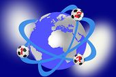 Soccer balls that revolve around earth globe