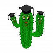 A Funny Cartoon Cactus In A Magister Cap
