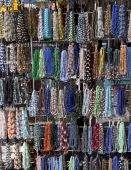 Display rack of colorful necklaces