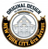 Old house badge. Old style design and floral details. Organized by layers.