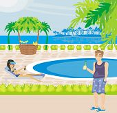 picture of voyeur  - happy couple relaxing in vacation by the pool  - JPG