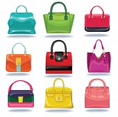 Multi-coloured Fashion Women's Handbagon White Background