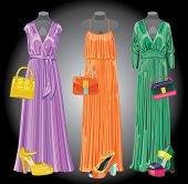 Set Of Three Long  Silk Party Dresses,handbags,shoes