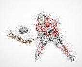 picture of shoot out  - Abstract hockey player shoots the puck - JPG