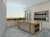 pic of shelving unit  - Modern apartment kitchen interior with wall units and shelving and a central island overlooking a large wall length view window - JPG