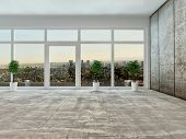 Empty living room interior with panoramic view through a floor to ceiling glass wall or window overl