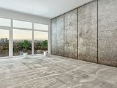 Empty spacious modern interior room with floor to ceiling view window and grey cement wall unfurnish