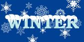 Word Winter  with snow and snowflakes