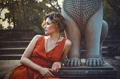 Girl posing in sunset Angkor Wat, Cambodia