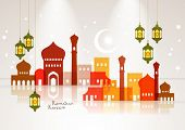 Vector Muslim Mosque and Oil Lamp Graphics. Translation: Ramadan Kareem - May Generosity Bless You D