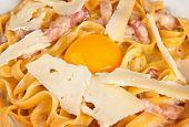 Spahetti carbonara with raw egg yolk