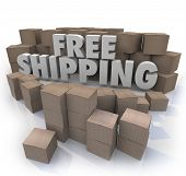 Free Shipping words cardboard boxes warehouse retail store fulfillment center