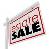 image of possess  - Estate Sale words sign advertising selling homeowner possessions inside a house - JPG