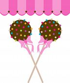 pic of canopy  - Cake pops chocolate vector illustration drawing with canopy - JPG