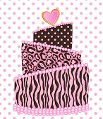 image of sweet sixteen  - Leopard zebra wedding cake vector illustration drawing - JPG