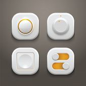 stock photo of toggle switch  - Buttons and Switches Set With Realistic Lights and Shadows - JPG
