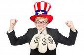 stock photo of sack dollar  - Man with dollar sacks on white - JPG