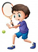 Illustration of a young boy playing tennis on a white background