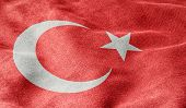 Oblique view of the Flag of Turkey