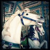 Instagram filtered style image of a carousel horse