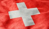 Oblique view of the Flag of Switzerland