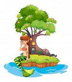 Illustration of a beautiful mermaid near the treehouse on a white background