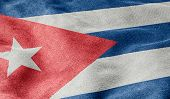 Oblique view of the Flag of Cuba