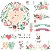 Vintage Wedding Flora design element- illustration