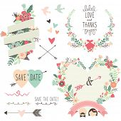 Vintage Flowers Wedding invitation design elements- Illustration