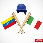 Symbols Of Baseball Team Venezuela And Italy.