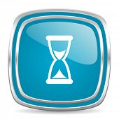 time blue glossy icon