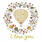 Romantic vector background with flowers, bees and air balloon. I love you postcard. Wedding invitati