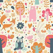 Cute floral seamless pattern with forest animals: bear, fox, owl, rabbit. Vector background with but