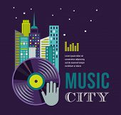 Music and night life of city, homes, building landscape infographic and background
