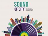 Music and city landscape infographic and background