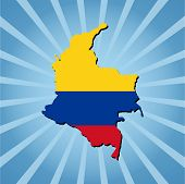 Colombia map flag on blue sunburst illustration