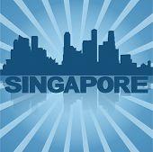 Singapore skyline reflected with blue sunburst vector illustration