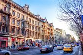 Budapest, Hungary.-March 20: Traditional old buildings on March 20, 2014. Beautiful street view of h