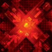 High tech abstract red technical background. Raster.